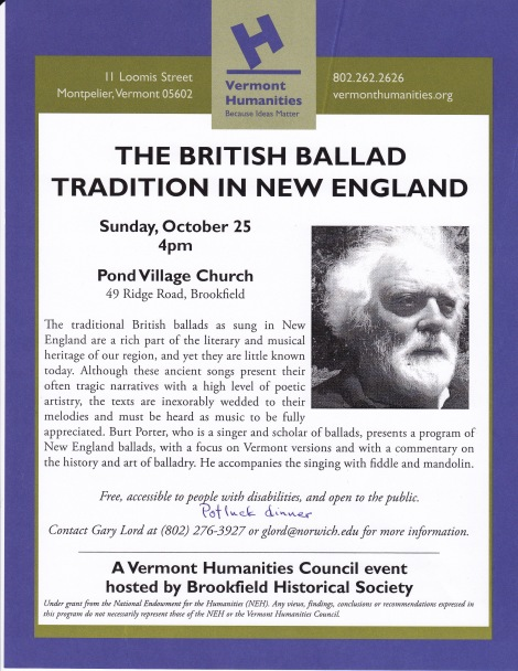 Flyer - British Ballad Tradition in New England